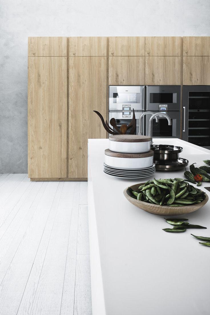 combinatie wit en hout. #Cesar #keuken model Cloe Italiaans design