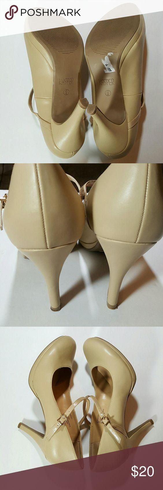 Kasper Tan High Heel shoes size 9M Kasper Tan Mary Jane High Heel shoes size 9M has a knick on the toe front of shoes from shoes rack but in great condition please see pictures for overall condition Kasper Shoes Heels