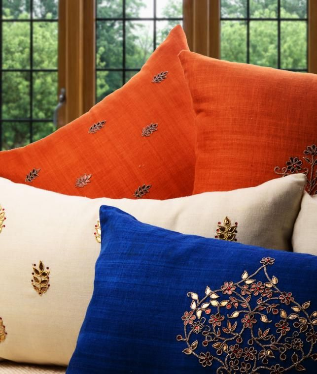 Buy The Elegant Abode by Soul Roots Understated Matka Silk Cushion Covers with Gota-Patti Online at Jaypore.com