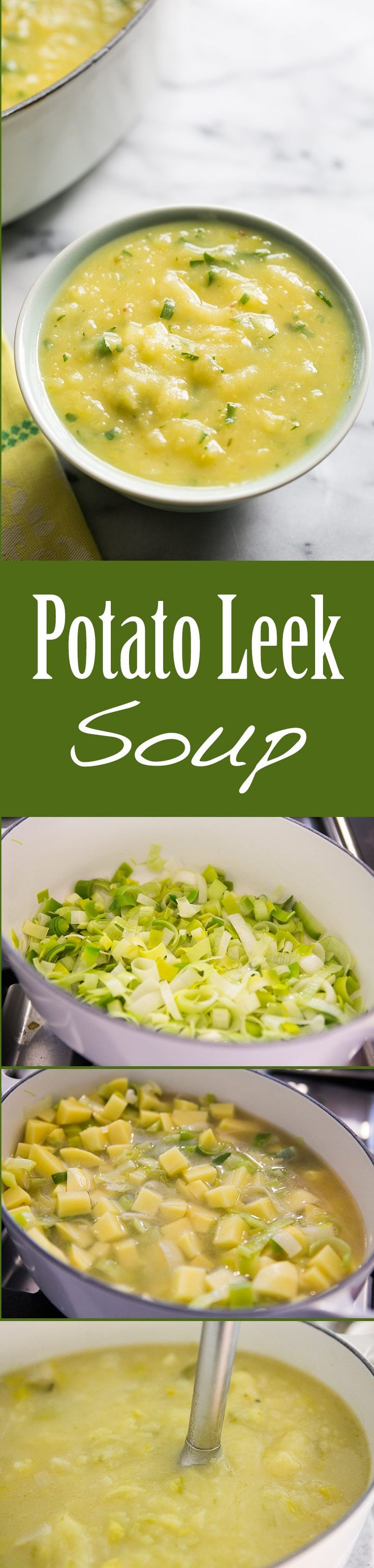 Simple and EASY Potato Leek Soup, creamy without the cream! A hearty soup with potatoes and leeks. On SimplyRecipes.com