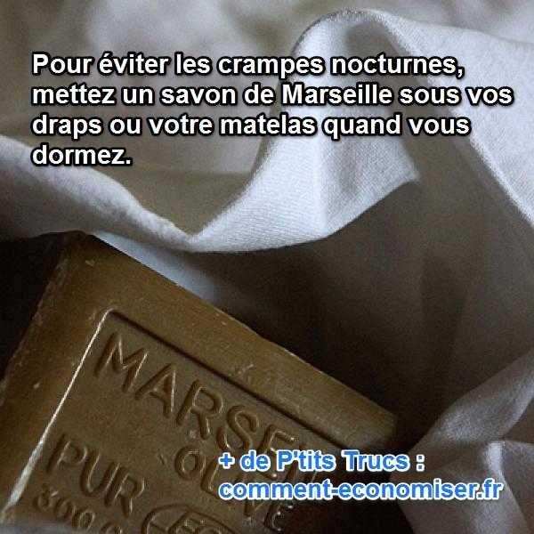 Vous souffrez de crampes nocturnes ? Pour apaiser la douleur, le savon de Marseille est le meilleur remède qui existe.  Découvrez l'astuce ici : http://www.comment-economiser.fr/traitement-crampes-nocturnes.html?utm_content=bufferfc0fd&utm_medium=social&utm_source=pinterest.com&utm_campaign=buffer
