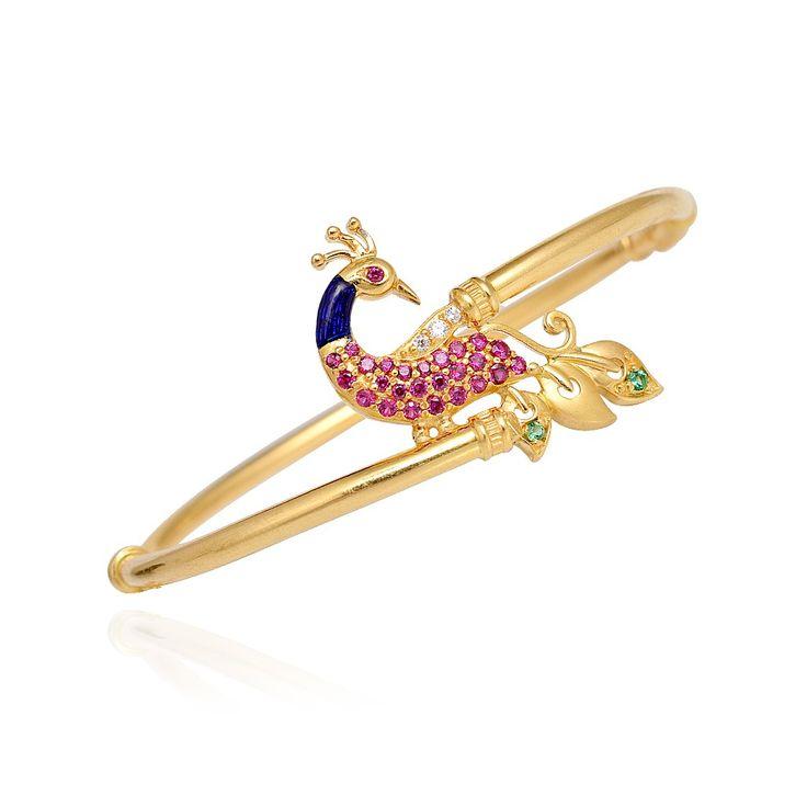 Bangles | 22 Kt Gold Peacock Bangle Bracelet | GRT Jewellers