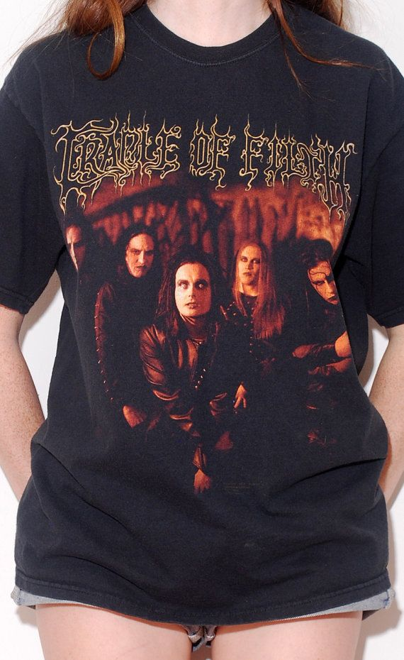 Black CRADLE OF FILTH Tshirt // black metal shirt by blackmoonsky