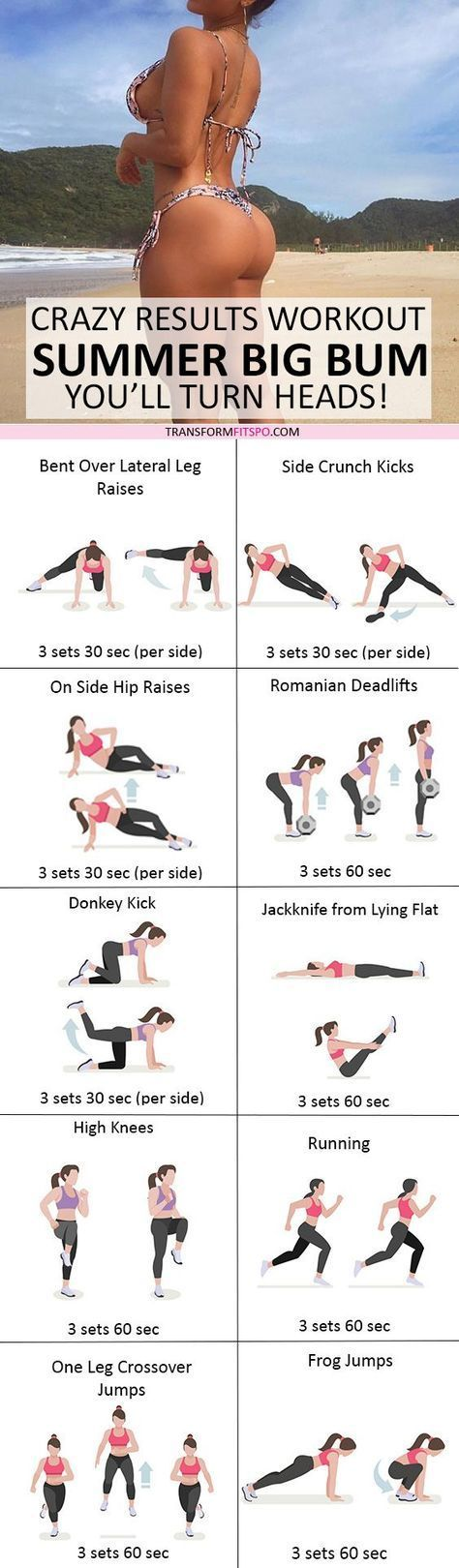 #womensworkout #workout #female fitness Repin and share if this workout gave you a summer big bum! Click the pin for the full workout. Being overweight or clinically obese is a condition that's caused by having a high calorie intake and low energy expenditure. In order to lose weight, you can either reduce your calorie intake, or else exercise regularly and reduce your calorie intake at the same time. It's always more beneficial to exercise as well. Many people don't exercise...