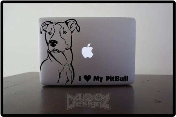 I love my Pitbull    - Macbook Air, Macbook Pro,  Macbook decals, sticker ,Vinyl Mac decals ,Apple Mac Decal, Laptop, iPad on Etsy, $9.99