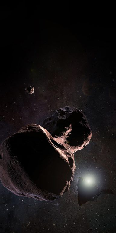 As New Horizons Speeds Toward Next Target, New Data Suggests 2014 MU69 May Have a Moon. Above: artist's conception of 2014 MU69 as a binary object with a moon, during flyby of New Horizons in 2019. MU69 is the next target of New Horizons in January 2019. Image Credit: NASA/JHUAPL/SwRI