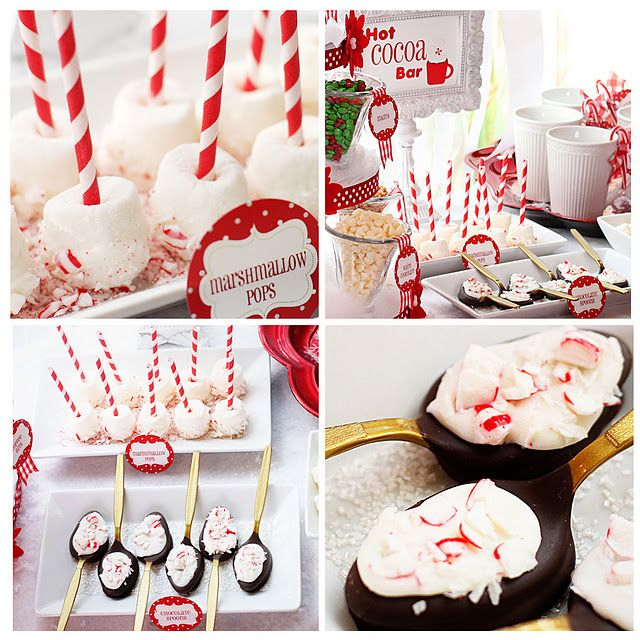 Hot cocoa bar idea for a Christmas partyChristmas Parties, Birthday Parties, S'Mores Bar, Chocolates Spoons, Bar Ideas, Chocolates Bar, Hot Cocoa Bar, Parties Ideas, Hot Chocolates