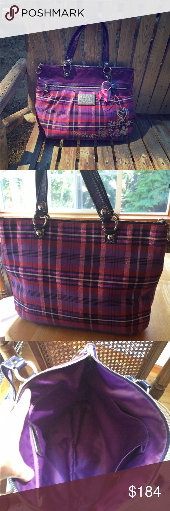 Pristine Coach Poppy Tartan Glam Tote 15886 Rare Coach Tarten Plaid Tote 15886 in Purple/Black/Red w/ Purple Patent Leather Handles & Trim! Stunning Bag! Tote is made of sturdy canvas and has the metallic glitter graphics & logo Its in pristine condition! EUC This Tote is lined in purple sateen, 1 zip, multiple slip pockets, the front has a full size zip pocket, 3 charms! Very hard to find in this condition!measures 17 X 13 X 5 Coach Bags Totes