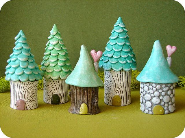 garden gnome village - full of textures and sweet colors.  Make them flat for fabric embellishments..