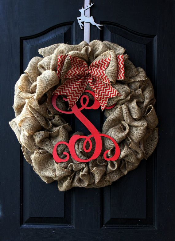 Simple, rustic, Christmas. Easily change the red letter/bow after Christmas to make it Wintery.