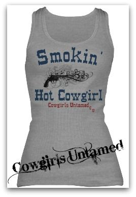 COWGIRL ATTITUDE TANK TOP  Black Smoking Pistol and Blue with Red