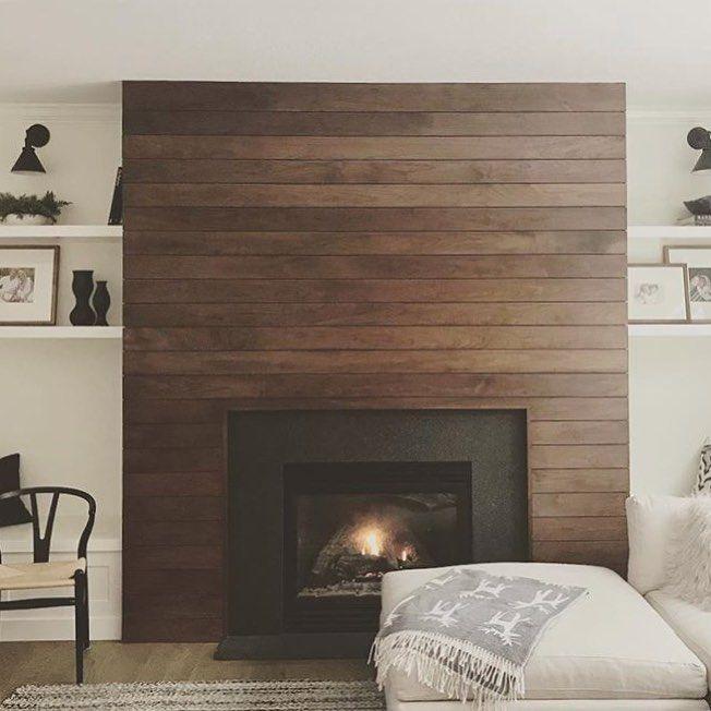 Dramatic Walnut Shiplap Wall Fireplace Accent Walls