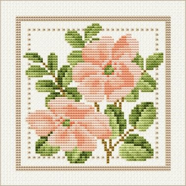 June - Wild Rose, Project 2010 - Flower of the Month, designed by  Ellen Maurer-Stroh, from EMS Cross Stitch Design.