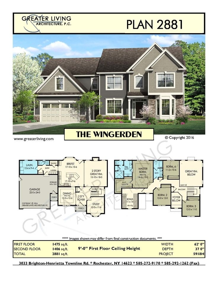 Plan 2881: THE WINGERDEN - Two Story House Plan - Greater Living Architecture - Residential Architecture