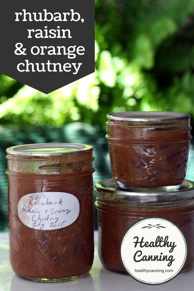 Rhubarb, Raisin and Orange Chutney. A delicious chutney with an unusual but delightful combination of flavours that work well together. Good with any roast supper; also good with strong cheeses such as cheddars or blues. Sugar-free and salt-free  #canning.