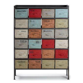 LaForma Key West Ladenkast  Afmetingen: L 110 x B 30 x H 150 cm Materiaal: metaal 24 lades voor opbergen accessoires Vintage, industrieel design Een originele opberger  Prijs €679,00