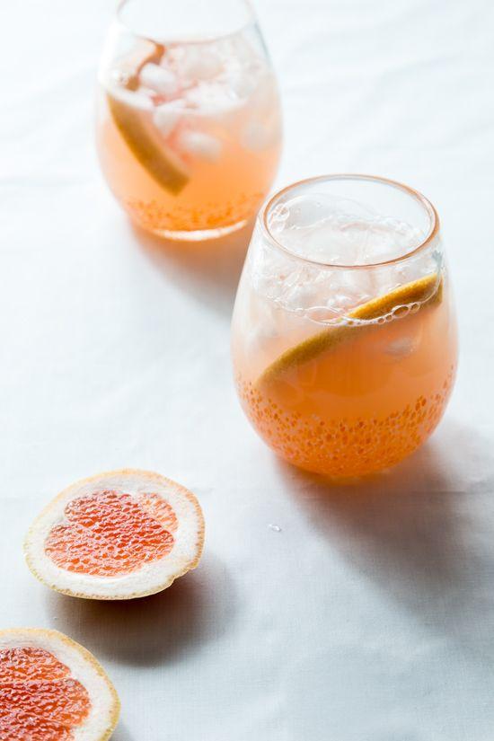 Grapefruit Mimosa - Ruby Red Grapefruit Juice, St. Germain, Champagne, Grapefruit Slices.