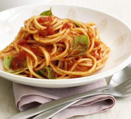 Coffee Time: Tomato Basil Sausage Spaghetti