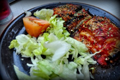 Baked eggplant  with cheese. and tomatoes