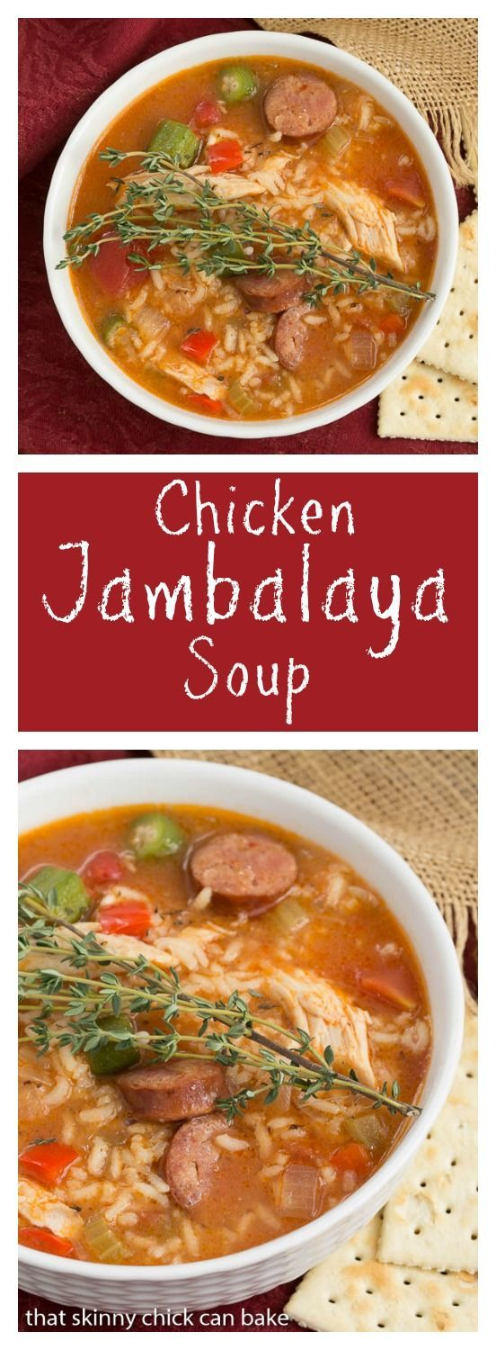 Jambalaya Soup | Packed with terrific flavor from chicken, andouille sausage, rice and more! from thatskinnychickcanbake.com  @lizzydo #SundaySupper @Zatarains