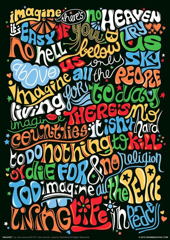 Imagine John Lennon Psychedelic Typography Print by DrawMeASong, $10.00