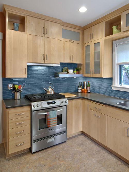 1,312 Contemporary Birch Cabinet Kitchen Design Ideas ... on Modern Kitchen Backsplash With Maple Cabinets  id=89536