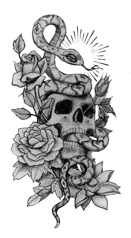 Hand Drawings Roses And Skulls: Skull Snake And Roses Tattoo Designs