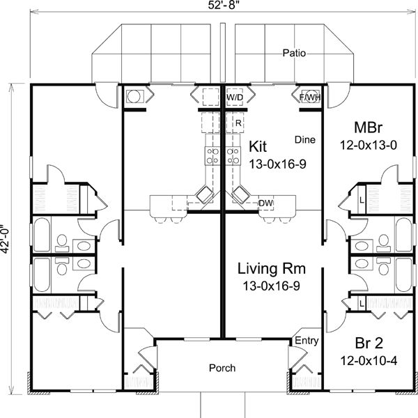 76 best images about multi unit plans on pinterest for Multi unit home plans