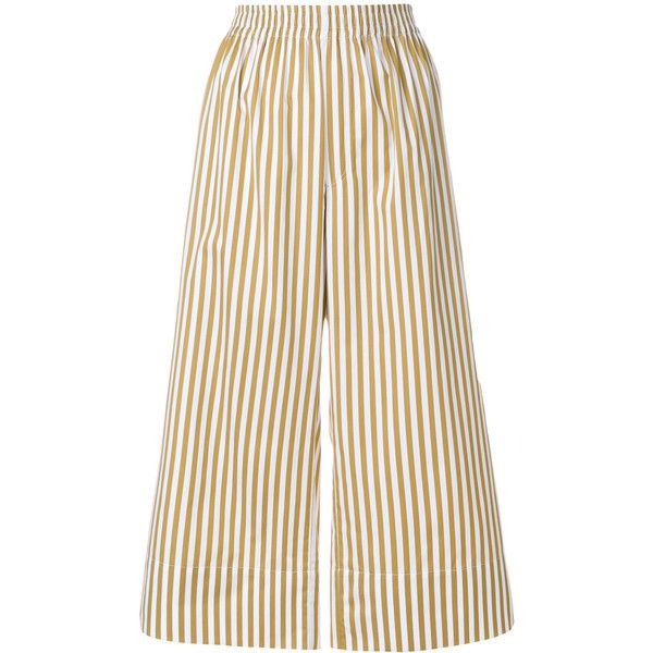 Joseph candy stripe cropped trousers (28145 RSD) ❤ liked on Polyvore featuring pants, capris, white cropped trousers, white stripe pants, elastic waist pants, elastic waistband pants and striped pants