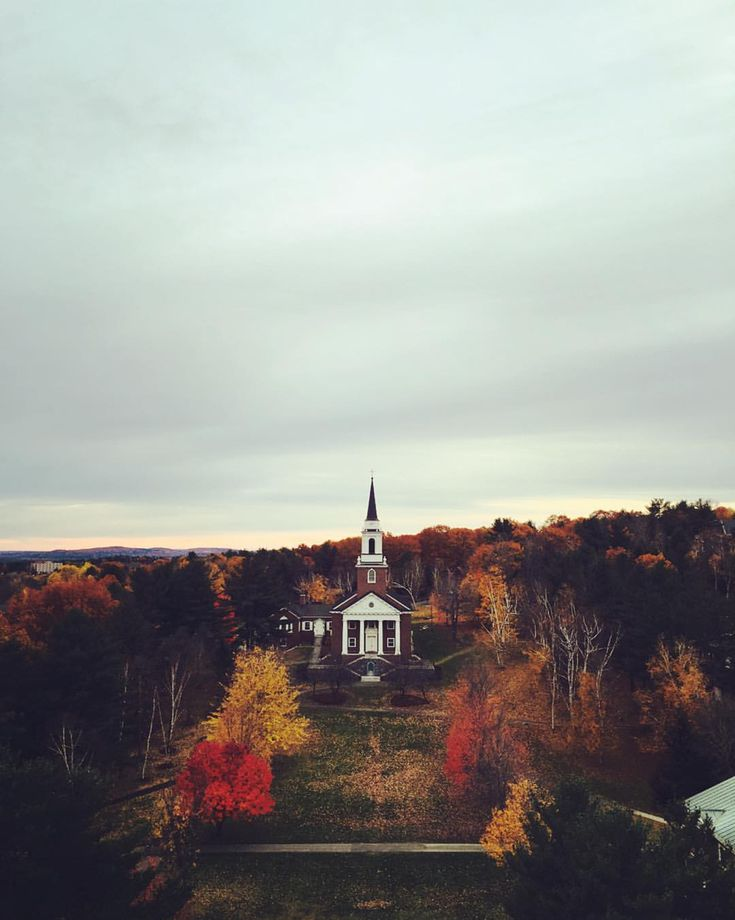 AUTUMN IN MAINE~ Lorimer Chapel, Colby College, Mayflower Hill, Waterville, Maine.