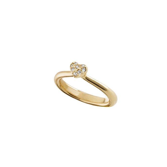 Heart ring in 18K yellow gold and diamonds TW.VS - Rings | OLE LYNGGAARD COPENHAGEN
