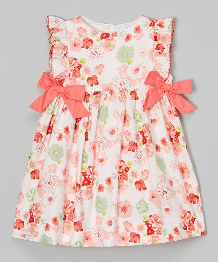 Orange Floral Bow Dress - Infant & Toddler