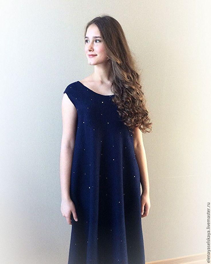 """Купить Сарафан """"Звездный"""" - валяное платье, синий сарафан, однотонный, тёмно-синий, стильное платье"""