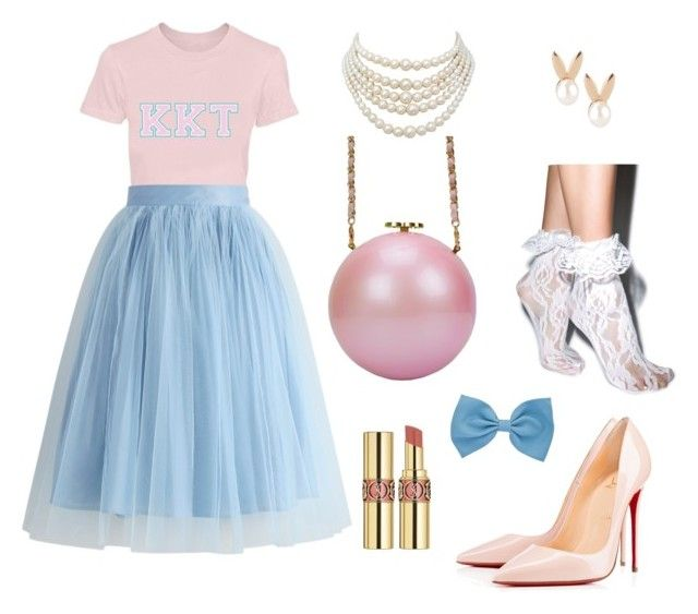 """scream queens inspired outfit"" by twyzter ❤ liked on Polyvore featuring Chicwish, Christian Louboutin, Yves Saint Laurent, Aamaya by priyanka, Christian Dior and Leg Avenue"