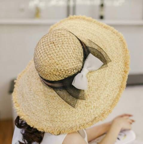 Mesh bow straw sun hats for girls in summer wear wide brim raw edge style