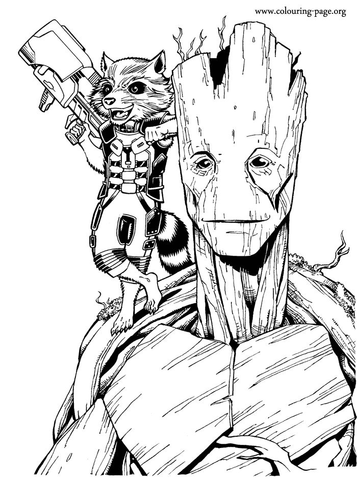 enjoy coloring this free printable groot and rocket raccoon coloring page from the marvel movie guardians - Boys Coloring Pictures