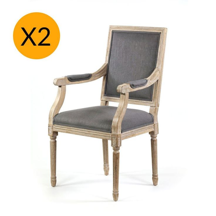 X2 French Provincial Square Dining Arm Chair Wolf Grey - Black Mango