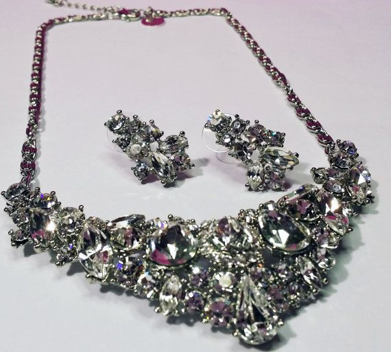 Crystal Bridal Set  Wedding Set  Crystal Necklace and by BYTWINS, €55.00