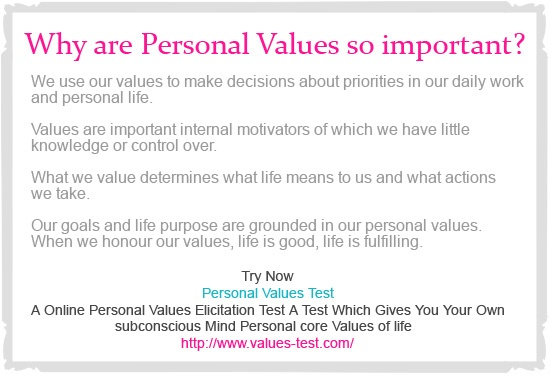 personal values assessment test pdf