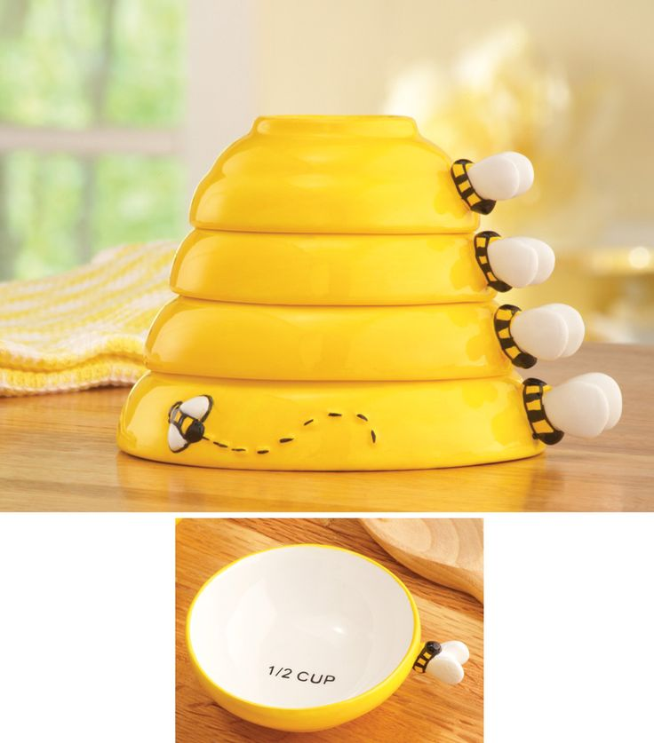 Ordinaire 4 Piece Bumblebee Beehive Bee Measuring Cups Cooking Baking Kitchen Decor  New