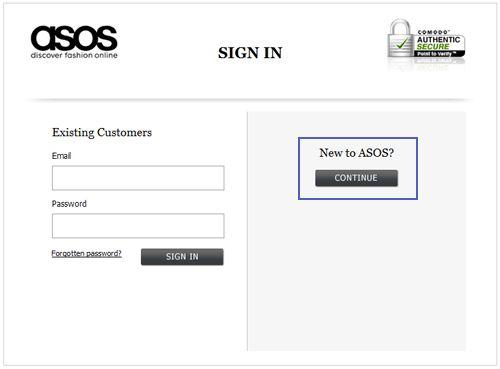 Отказ от регистрации на первом этапе в ASOS уменьшение количества отказов на 50%
