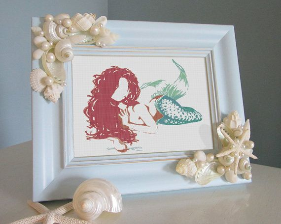 Mermaid Cross Stitch Pattern - Disney Cross Stitch The Little Mermaid Ariel - INSTANT DOWNLOAD