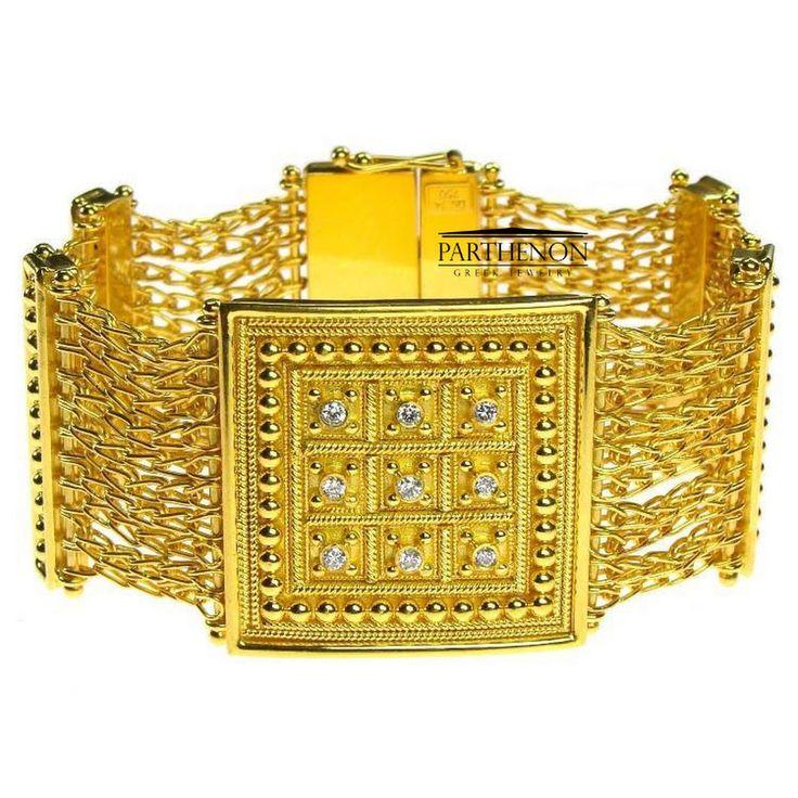 Parthenon Greek 18k Diamonds - Byzantine Gold Bracelet- Parthenon Greek Jewelry