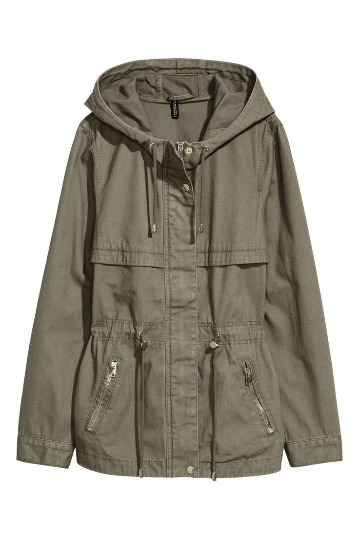 Short hooded parka - Khaki green - Ladies | H&M 1