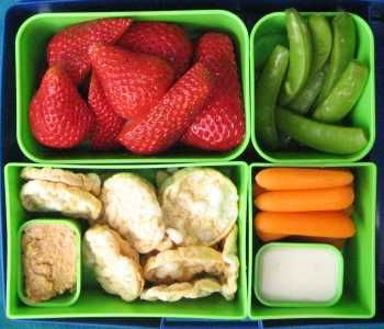 Menu        Organic Strawberries      Mini Rice Cakes      Peanut Butter      Sugar Snap Peas & Baby Carrots      Caesar Salad Dressing