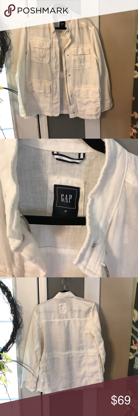 Gap Women's White Linen Jacket Excellent Condition! Worn once. All linen, pic of care and materials in photos. Zip and snap closure. Measures approximately 29 in length, chest measures approximately 21.5 . Very nice jacket. Smoke free home. Price firm. White in color GAP Jackets & Coats Utility Jackets