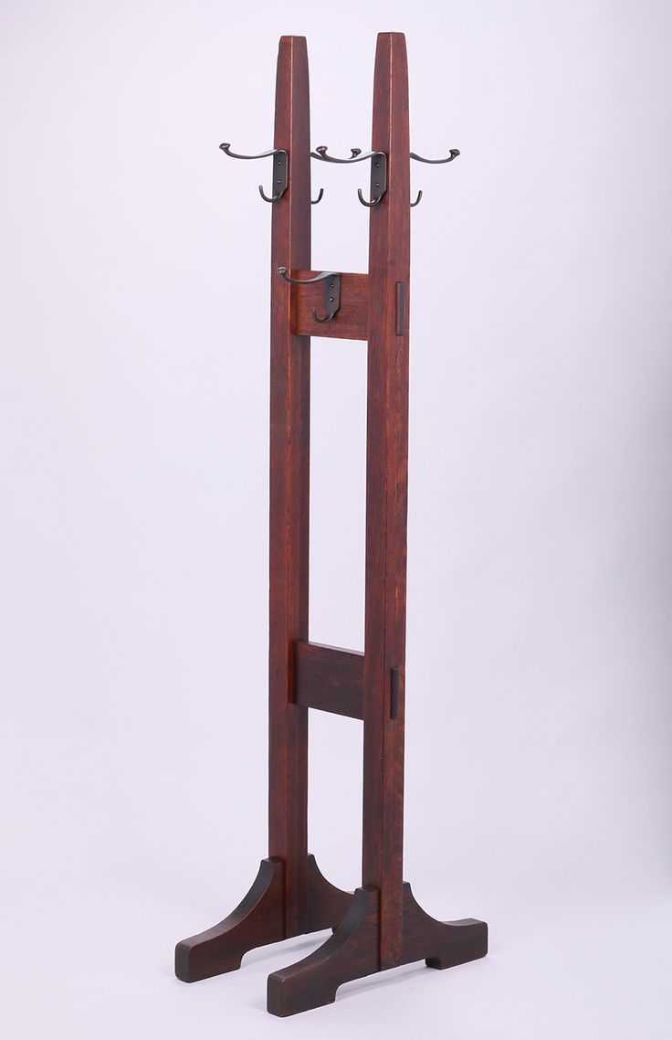 Gustav Stickley double coatrack (also known as double costumer).  71.5″h x 22″d x 13″w | Bungalow | Craftsman | Mission Style | Furniture