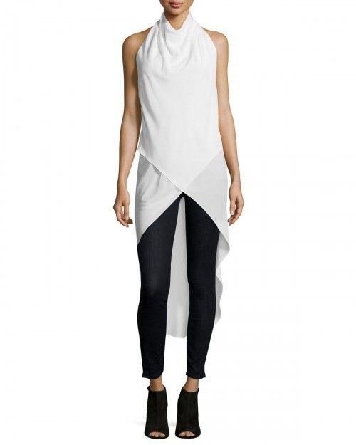 Haute+Hippie+the+Halter+Caravan+Silk+Blouse+White+Women's+|+Top+and+Clothing