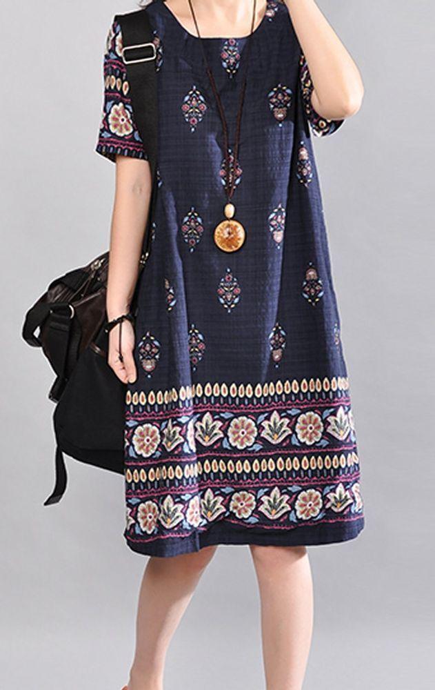 Women loose fitting over plus size ethnic retro flower dress Bohemian Boho tunic #Unbranded #dress #Casual