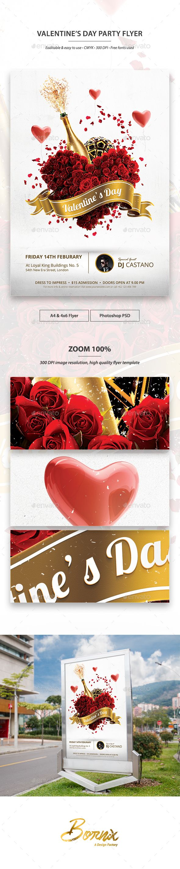 Valentines Day Party Flyer Template PSD #design Download: http://graphicriver.net/item/valentines-day-party-flyer-template/14368114?ref=ksioks